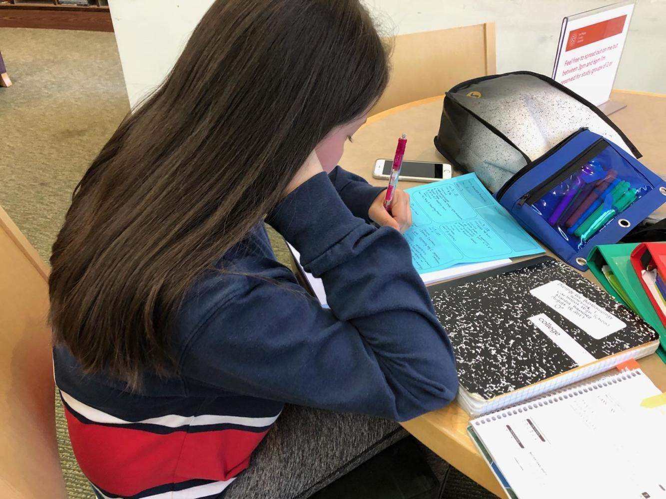 Freshman Mariela Ramirez works on homework.