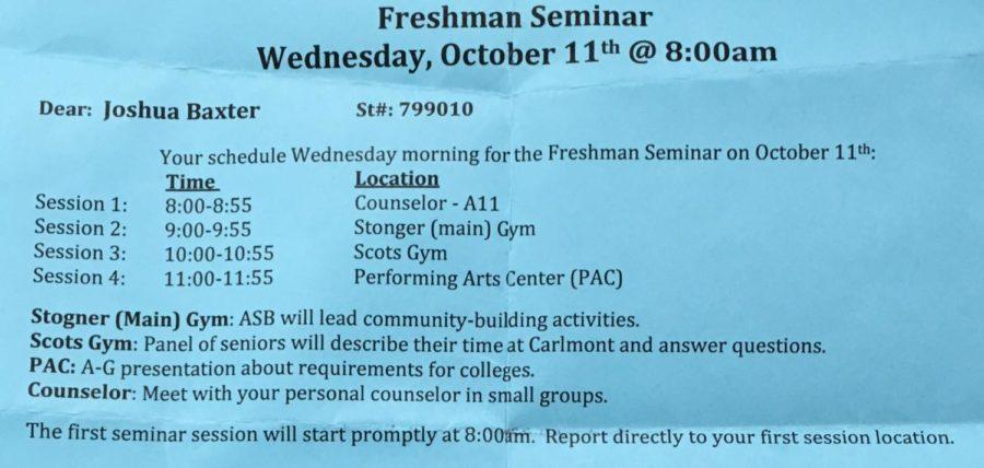 Freshman Joshua Baxter's schedule for the freshman seminar.