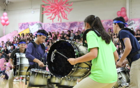 Drum line performs as one of acts at the homecoming assembly, which is one of many activities ASB puts on.