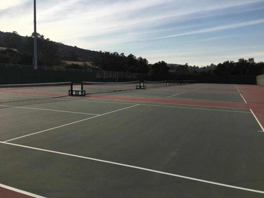 The Carlmont tennis courts were empty due to the smoke from the fires.