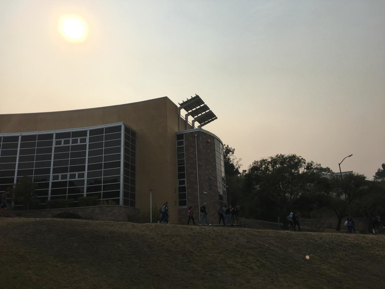 The smoke-filled air lingering around Carlmont High School that caused all outdoor sports to be canceled.