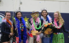 (from left to right) Seniors  Tai Mei Chang, Heather Chao, Maya McMillen, Sophie Srivastava, and Emma Vanoncini wear silly clothes for senior night.