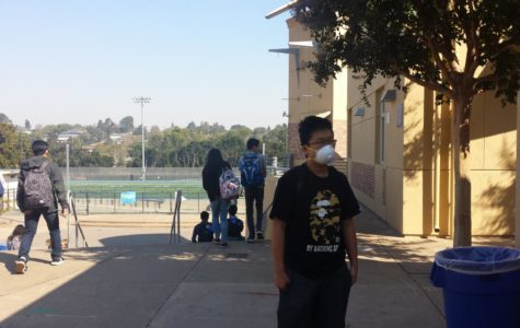 On Oct. 11, face masks were handed out to students who were worried about inhaling ash particles in the smoky air.