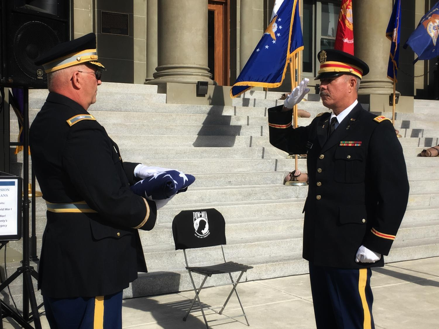 The Flag-Folding Ceremony is one of the many events held at the Redwood City Celebration honoring the military service of men and women in the United States.