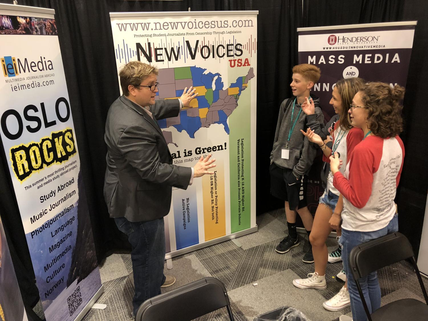 Professor Steven Listopad of Henderson University talks to a group of students at the Dallas convention about the New Voices campaign that was started by his students at the University of Jamestown North in North Dakota.