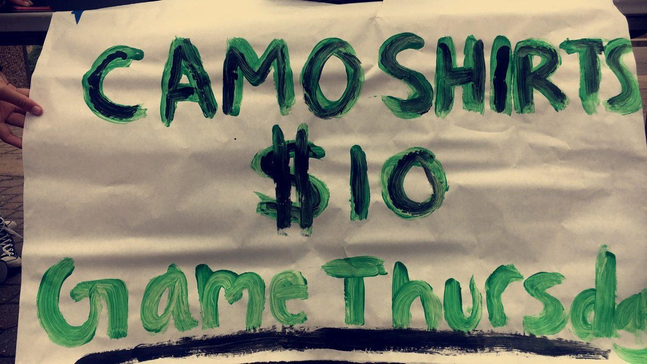 Camo shirts were sold in the quad for $10 each. They are meant to be worn on game day for the last football game of the season.