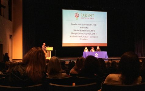 During Parent Education Night, a panel answers questions about anxiety. Executive producer of