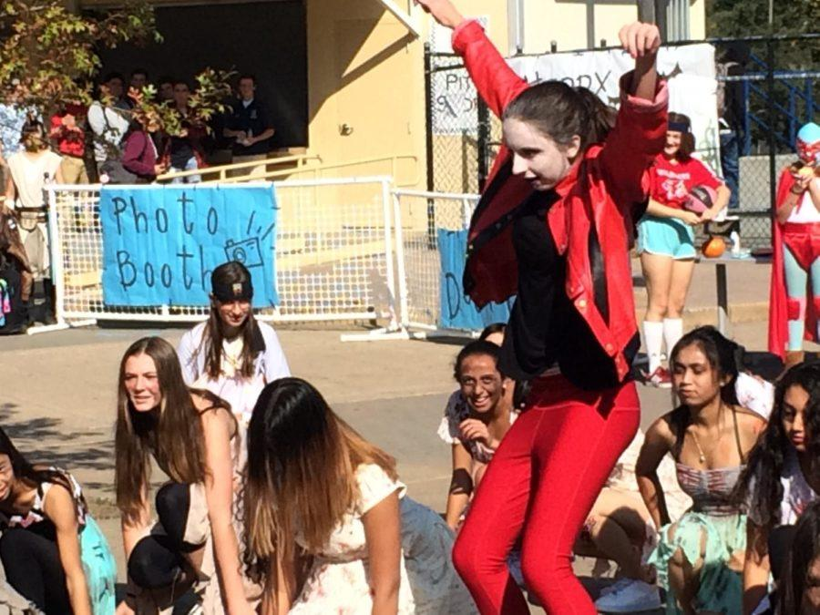 PE Dance students dance Thriller in the quad on Halloween, featuring one student who wore a Michael Jackson outfit.