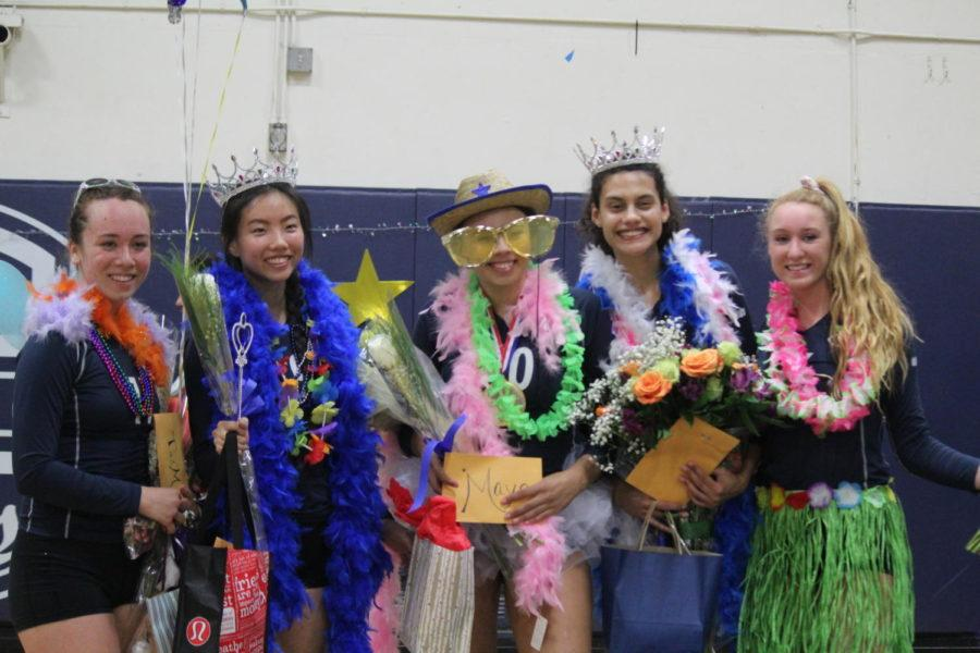 (from left to right) Tai-Mei Chang, Heather Chao, Maya McMillen, Sophie Srivastava, and Emma Vanoncini, all seniors, wear silly clothes for senior night.