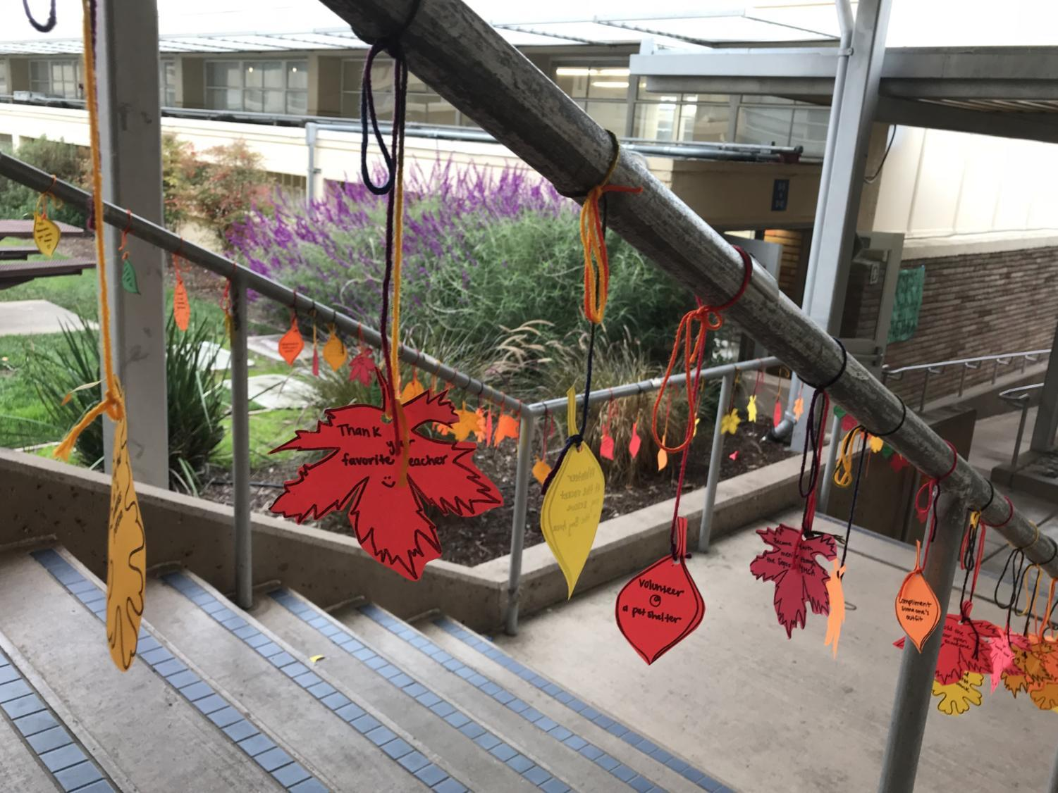 On Nov. 20, paper leaves decorated stairways on the Carlmont campus.