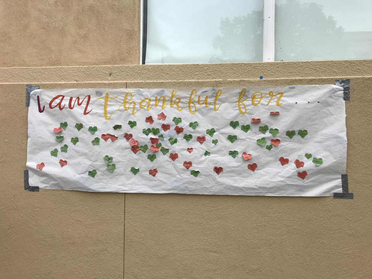 A+banner+in+the+center+of+Carlmont%27s+campus+allows+students+to+leave+notes+containing+what+they+are+thankful+for.