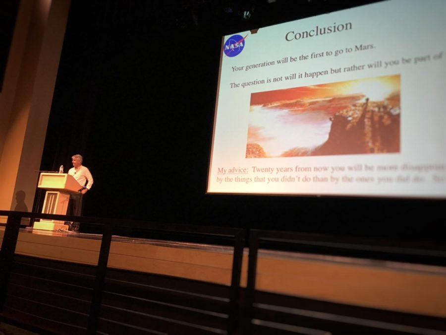 NASA researcher Michael Flynn sums up his presentation with a few brief words of advice for the audience. Flynn said, Twenty years from now you will be more disappointed by the things that you didnt do than by the ones you did do. So do it!