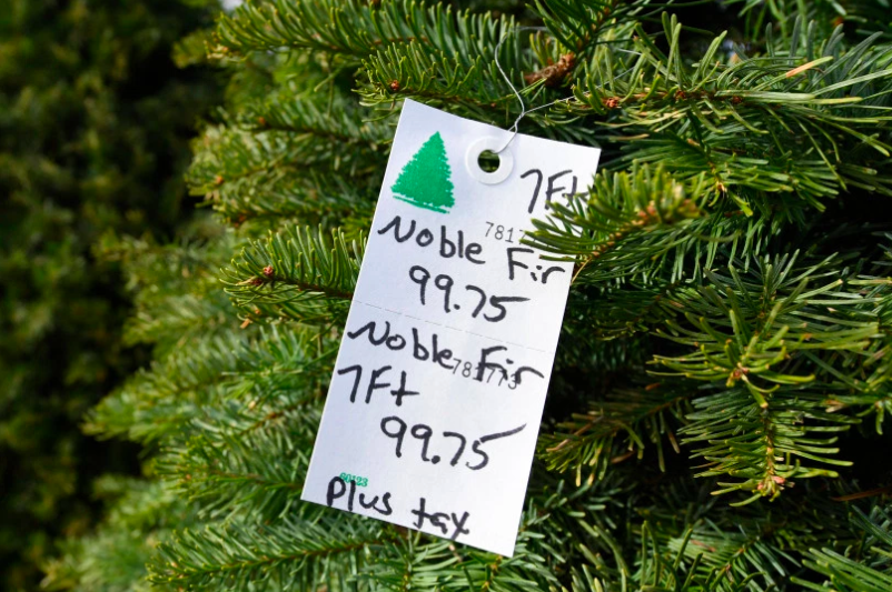 A Christmas tree with a price that many are not used to seeing.