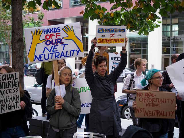 Bay+Area+residents+protest+in+San+Francisco+on+Sept.+12+to+save+net+neutrality.+