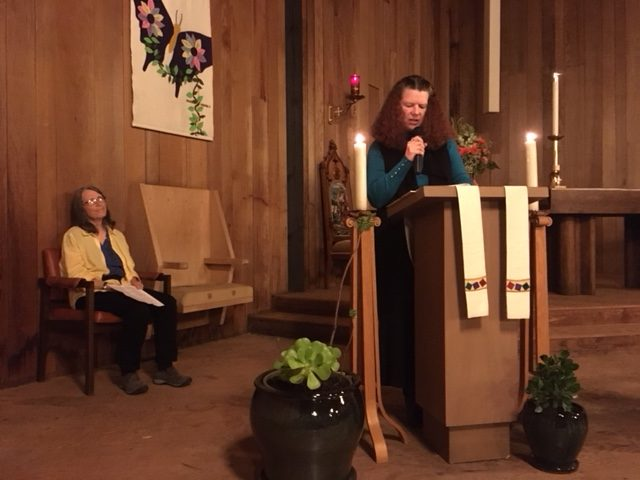 Kristi+Denham+reads+an+excerpt+of+Martin+Luther+King%27s+%22I%27ve+been+to+The+Mountaintop%22+speech+on+the+podium+of+Good+Shepherd+Episcopal+Church+on+Jan.+15%2C+2018.