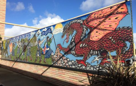A mural of Scots fighting a dragon is located in the corridor by the Student Union. Angelo Zhao, a former Carlmont student, painted this mural in 2015.