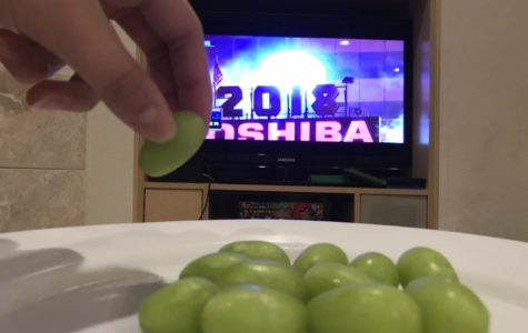 A Spanish New Year's tradition is eating twelve grapes during the countdown to give good luck in the upcoming months.