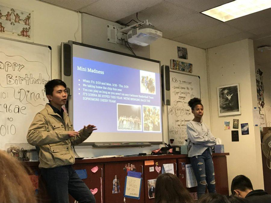 Sophomore class president Joe Sison and vice president Rachel Amir Chatman explain the Mini Madness Tournament happening in March.