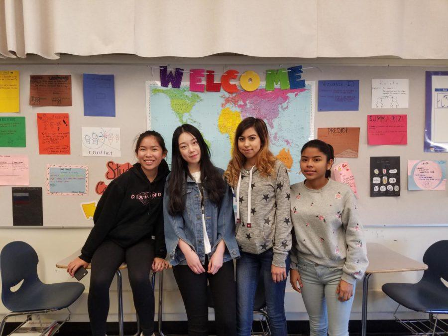 International Club members come together every other Wednesday at lunch to celebrate cultural diversity at Carlmont. Sheena Alvarez, Zhuangxinyue Belle Zhao, Jessica Solorio, and Monserrat de la Rosa (left to right).