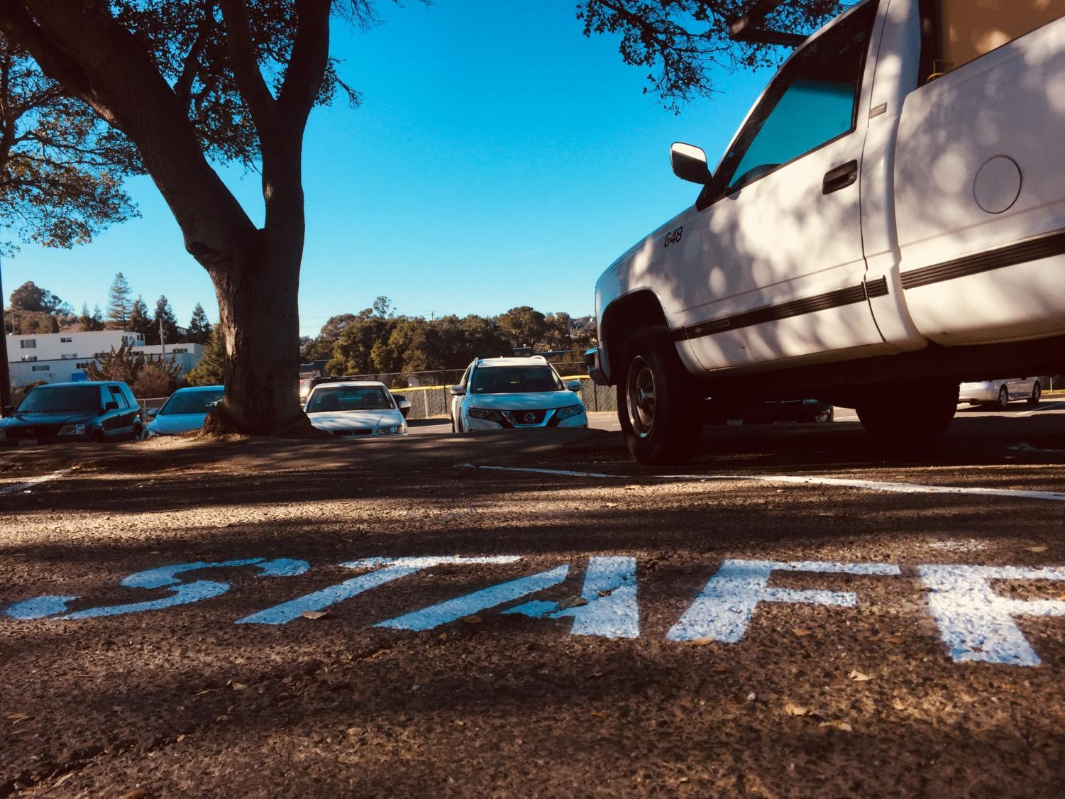 Eight parking spaces in the senior parking lot are now reserved for staff members.