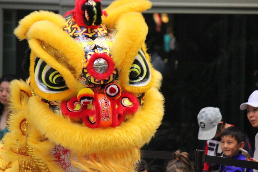The yellow lion dances in front of the crowd. The lion dance symbolizes good luck  in Chinese culture.