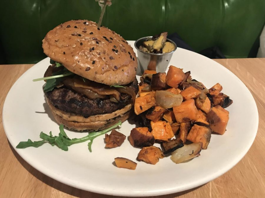 The+sweet+potato+hash+was+flavorful+and+the+burger%2C+although+small%2C+was+piled+high+with+toppings.+