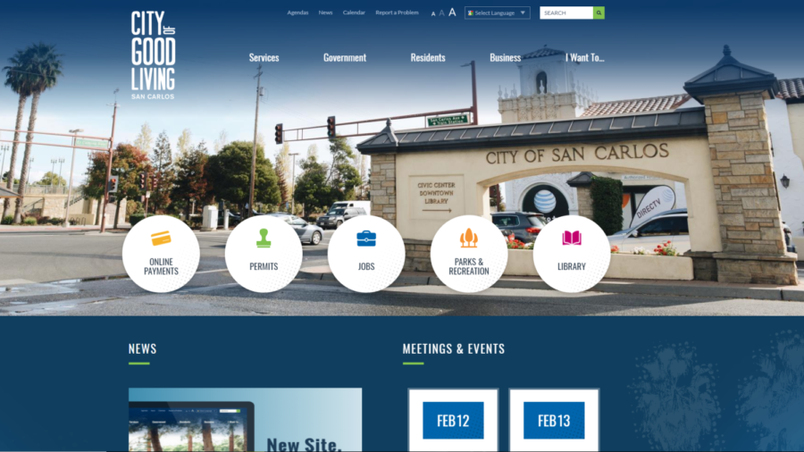 The new face of the San Carlos city website.