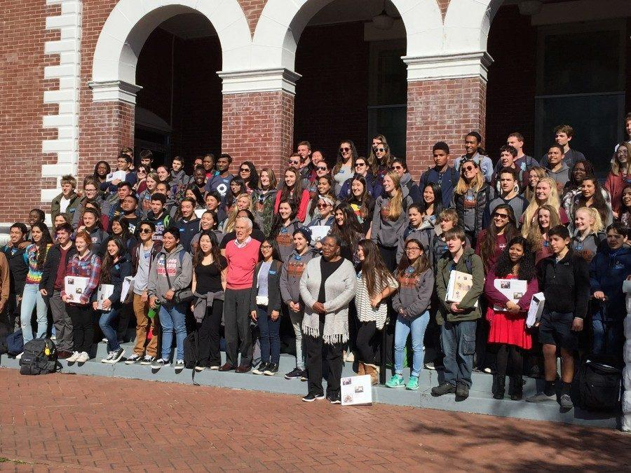 Students gather to take a group photo during their trip.