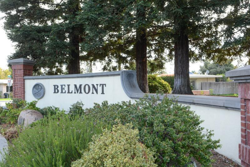 Trees are placed all over Belmont, including in front of the city sign, which has added to Belmont's Tree City status.