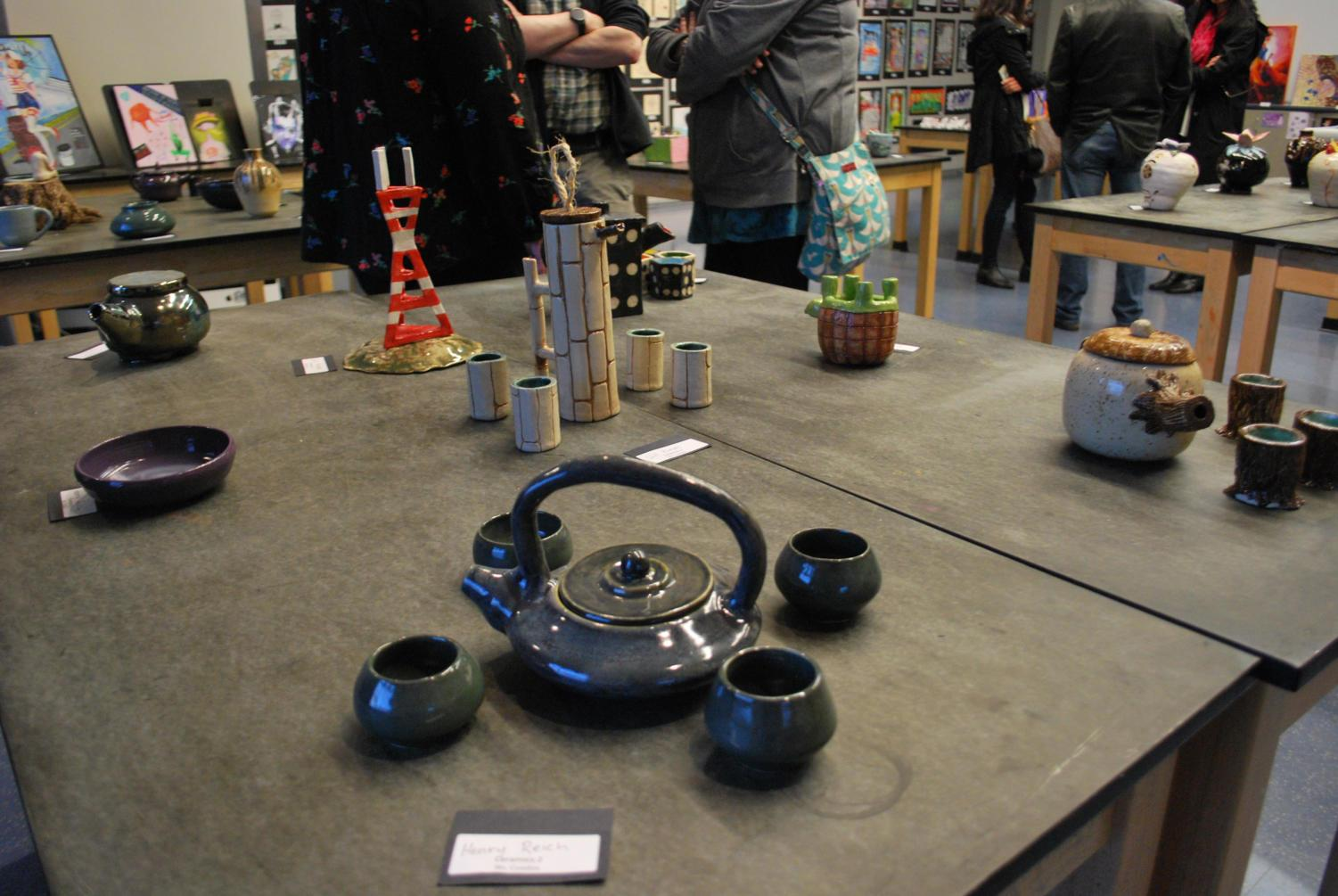 Tea+sets%2C+made+by+students+in+Ceramics+classes%2C+show+how+the+creativity+of+each+individual+student+affects+the+outcome+of+a+project.
