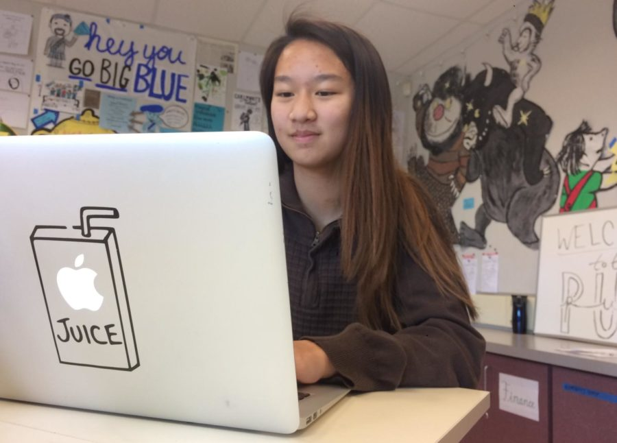 Valerie Wang works on a project for ASB.