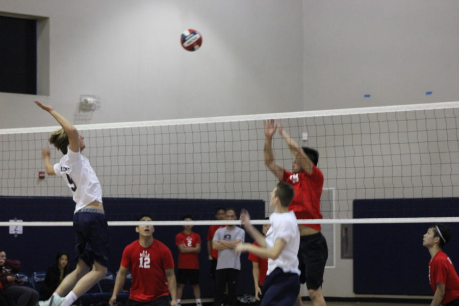 Bouchard hits the ball over the net and earns a point for the Scots.