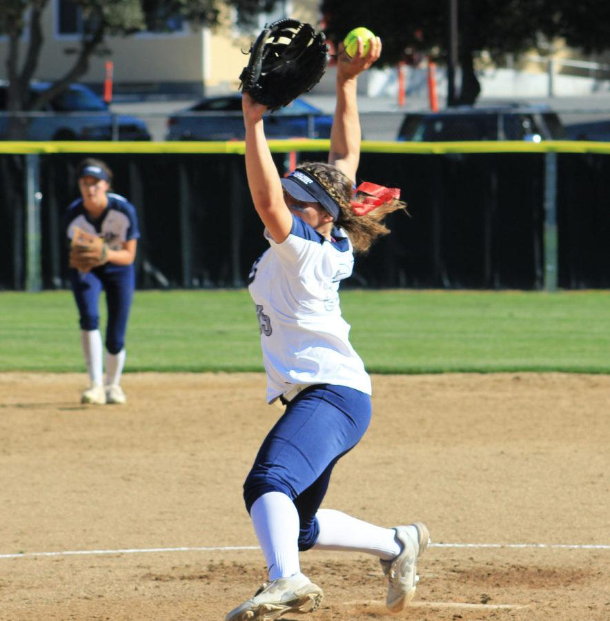 Mailey+McLemore+throws+her+third+pitch+of+the+day+causing+Woodside+to+strike+out.