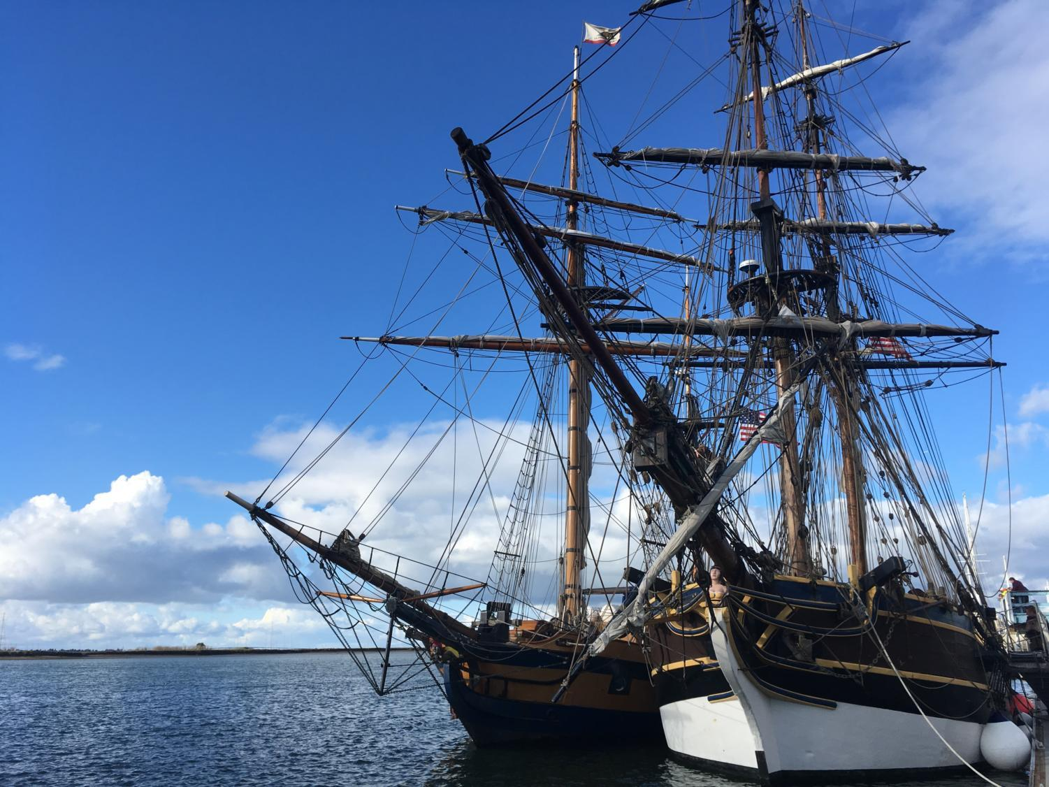 Lady Washington (right) and Hawaiian Chieftain (left) docked in the Port of Redwood City.