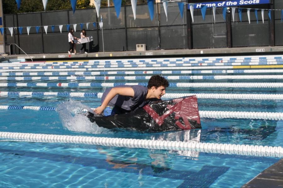 Sophomore Cameron Juliano races his way down the pool, trying to stay in the competition.