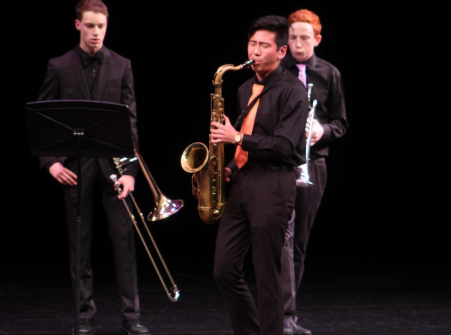 Student Chris Cho plays the tenor sax. The night ended with a performance of jazz song