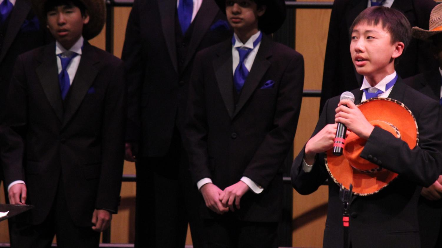 Freshman+Aaron+Lee+sings+%22The+Lone+Prairie.%22+There+were+many+memorable+solo%27s+throughout+the+night.