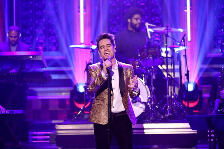 Brendon+Urie+of+Panic%21+at+the+Disco+performs+with+The+Roots+as+a+guest+on+%22The+Tonight+Show+with+Jimmy+Fallon%22+on+Jan.+19%2C+2017.