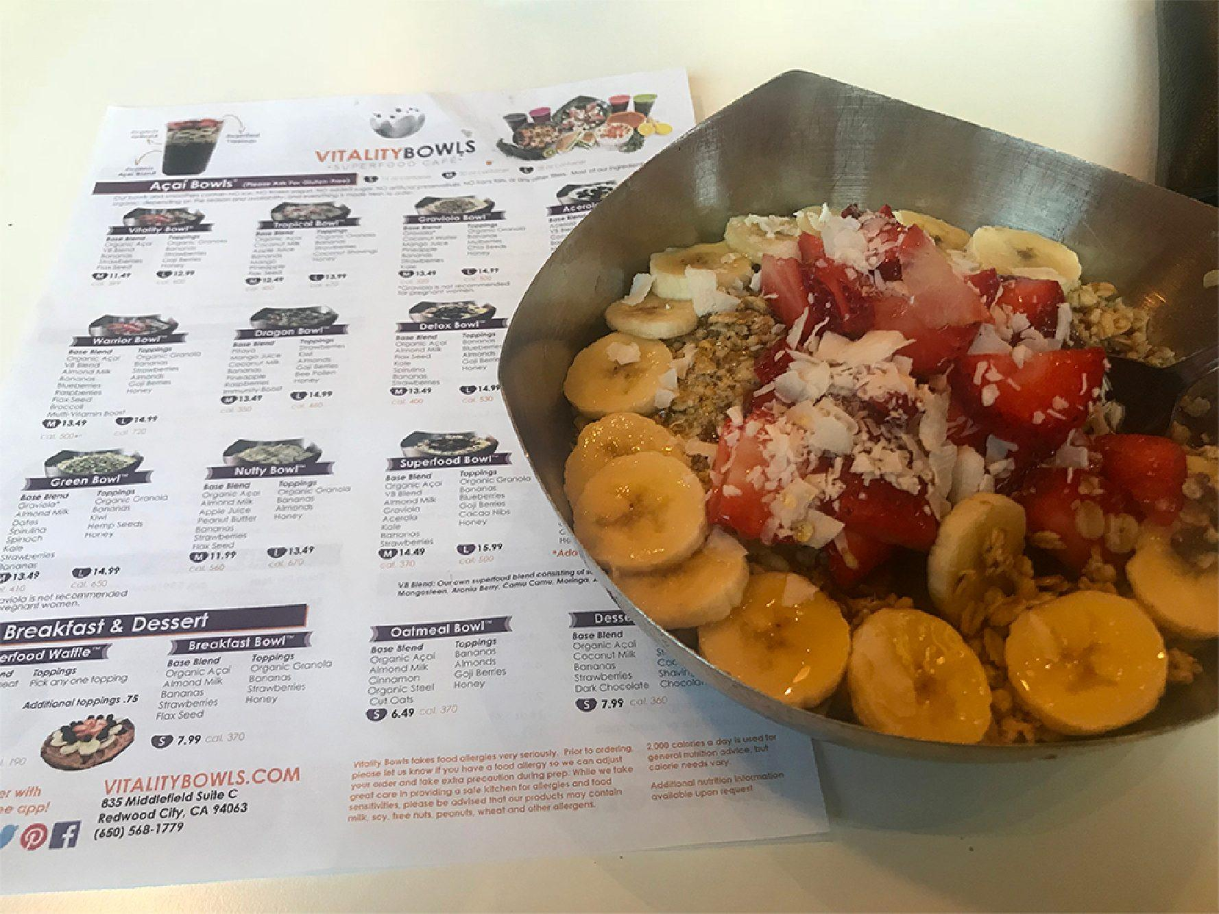 Vitality Bowls offers many choices for an açaí bowl on its menu.
