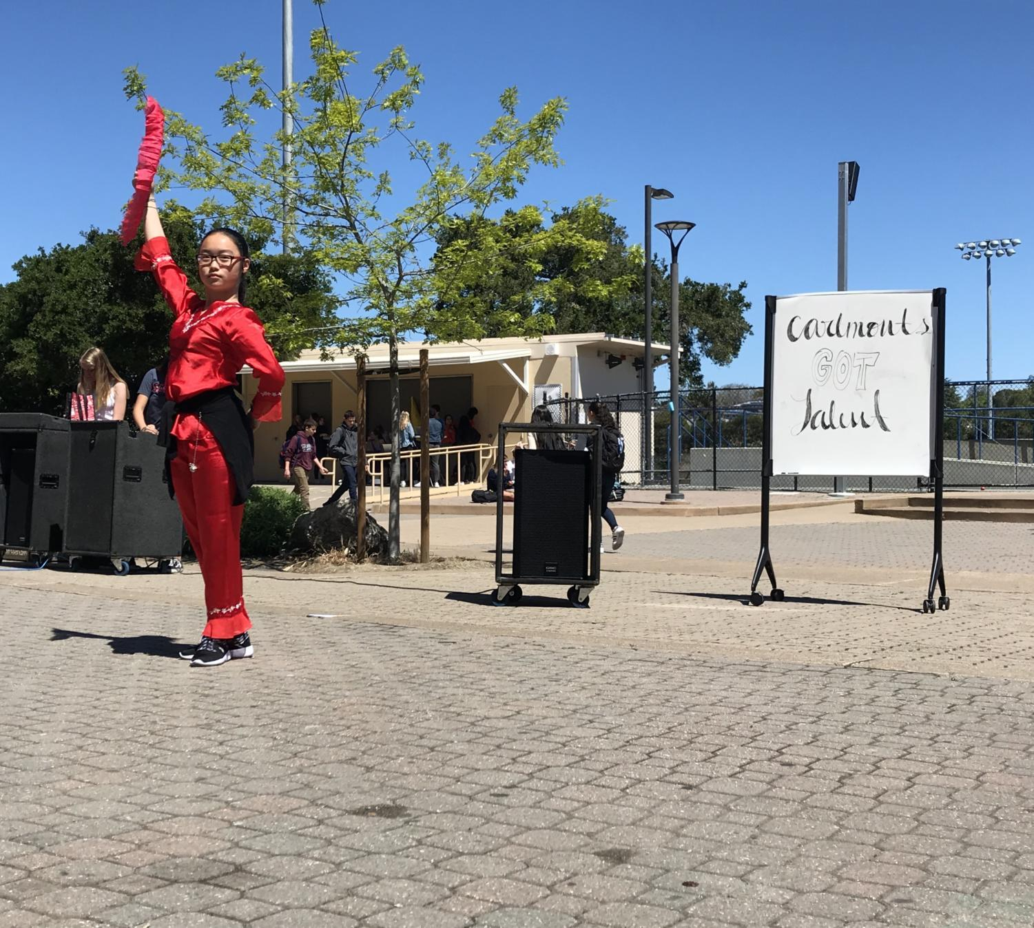 Freshmen Melody Lin performed a Martial Arts routine.