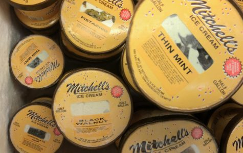 One Mitchell's Ice Cream display cases filled with different types of custom, home made flavors in half-gallon containers that customers can take home for $10 a piece.