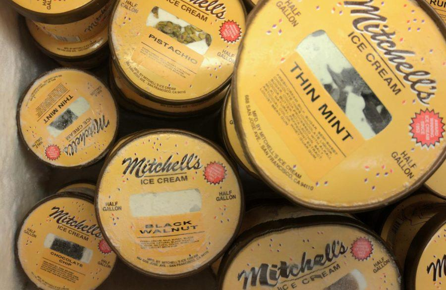 One Mitchells Ice Cream display cases filled with different types of custom, home made flavors in half-gallon containers that customers can take home for $10 a piece.
