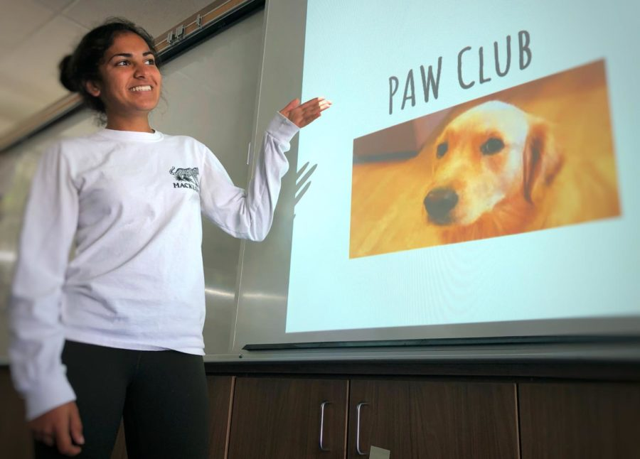 PAW+Club+President+Soni+Kanaya+informs+her+club+members+about+upcoming+events+during+their+regular+Wednesday+lunch+meeting+held+in+room+S23.