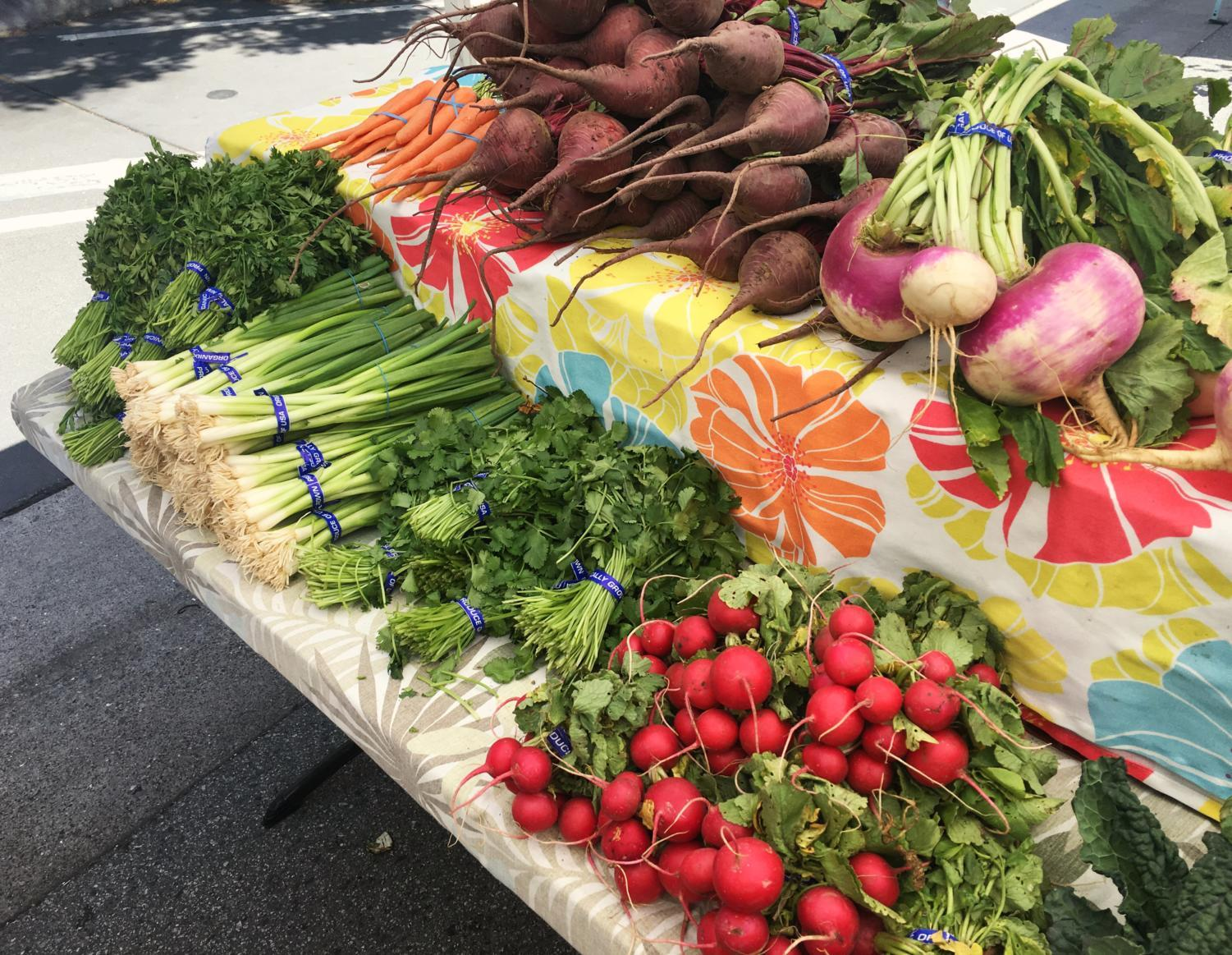 Vegetables for sale at the San Carlos Farmer's Market. The market features hundreds of products from popcorn to rutabegas.
