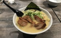 The heaping bowl of ramen was pilled high with toppings.