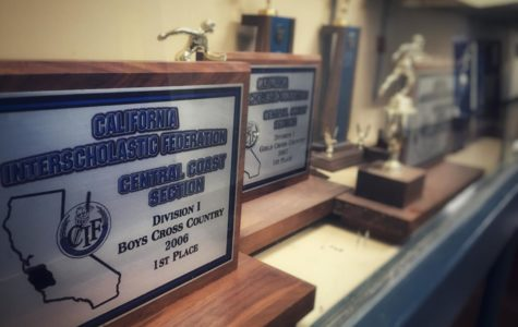 The Central Coast Section honors teams that do well with plaques like these, displayed in the trophy cases next to the Physical Education locker rooms.
