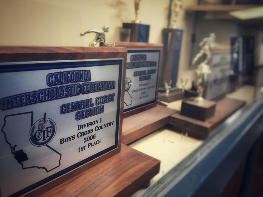 The+Central+Coast+Section+honors+teams+that+do+well+with+plaques+like+these%2C+displayed+in+the+trophy+cases+next+to+the+Physical+Education+locker+rooms.+