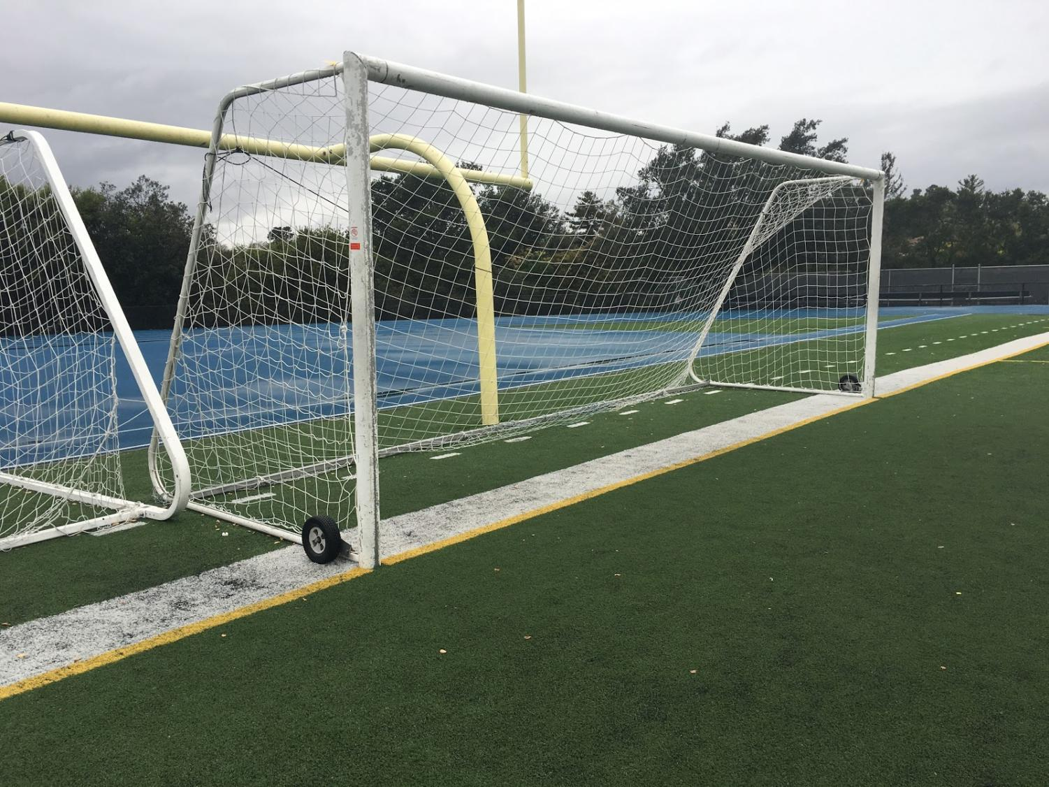 A goal sits untouched due to the lack of use over the break.