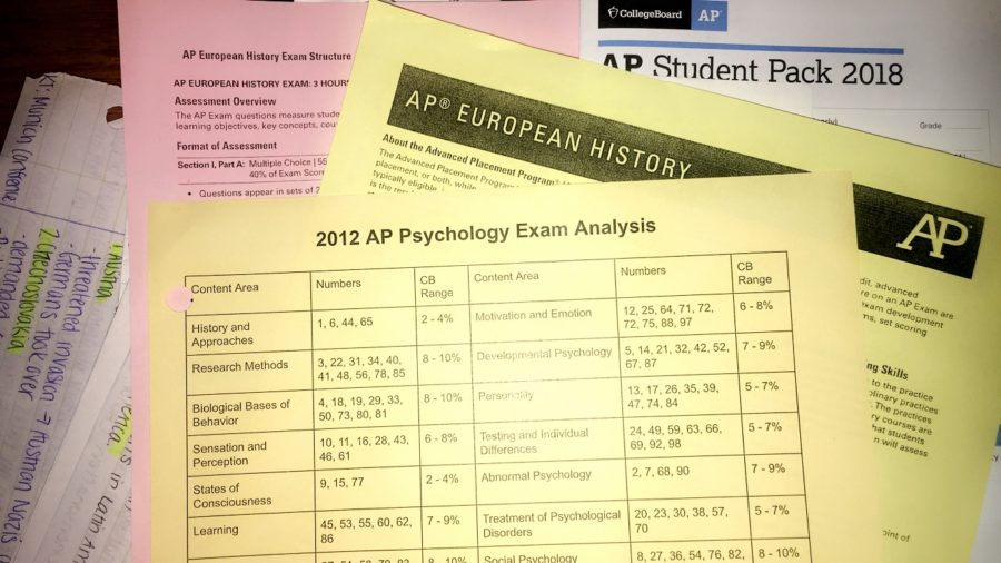 Teachers hand out papers that help students understand what the AP test will cover. They can also provide resources to students to help them study.