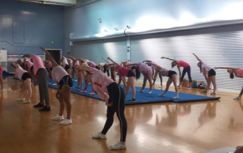 Incoming freshman and Carlmont students alike warm up for their May 16 tryouts sporting pink outfits.
